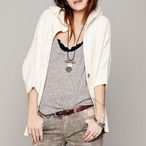 Free People chunky knit cardigan sweater with hood